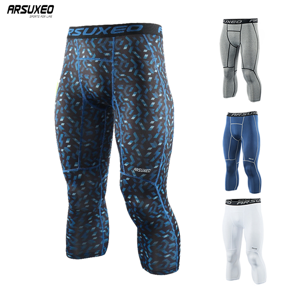 ARSUXEO Sports Compression Tights Men's Base Layer Running Tights 3/4 Pants Basketball GYM Fitness Active Training Exercise Pant