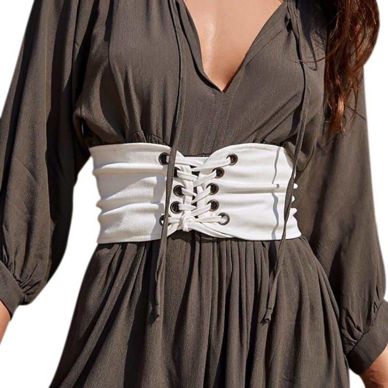 Women Vintage Knitted Lace Up Cummerbunds Corset Bandage Shape-Making White Black Fashion Wide Band Waist Accessories