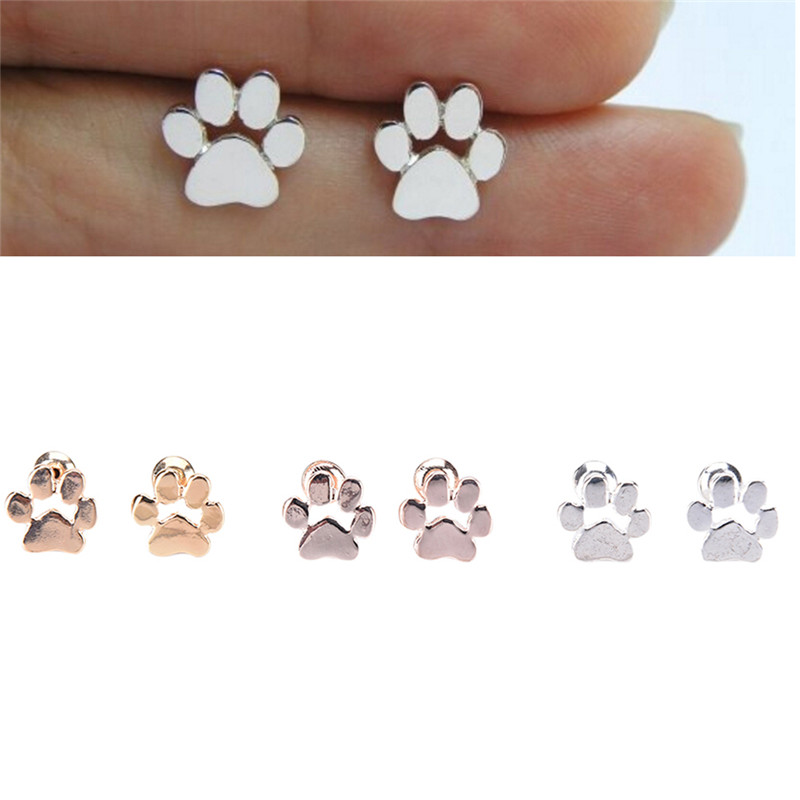 Cute Silver Stud Earring Girl Cute Animal Cat And Dog Paw