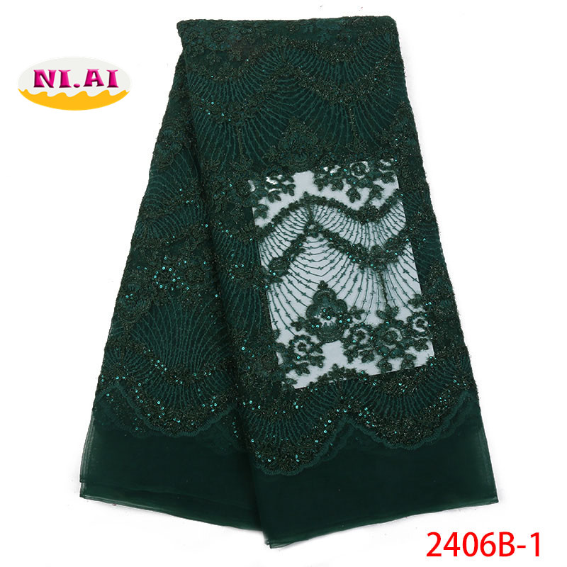 Latest design African lace fabric high quality 2018 Nigerian wedding lace tulle mesh lace fabric for