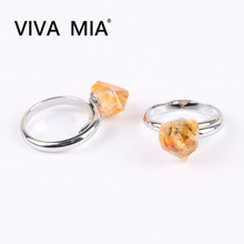 1pc Natural Stone Rings Citrines Yellow Crystal Silver Jewelry Finger Ring Wedding Ring Anniversary For Women Adjustable Size