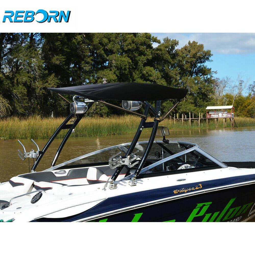 Reborn Pro3 Foldable Boat Wakeboard Tower Bimini Black Canopy 1900v 2200V