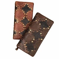 New Handmade Women Wallet Retro Genuine Leather Female Clutch Vintage Design Brand Rivets Cowhide Purse Cell