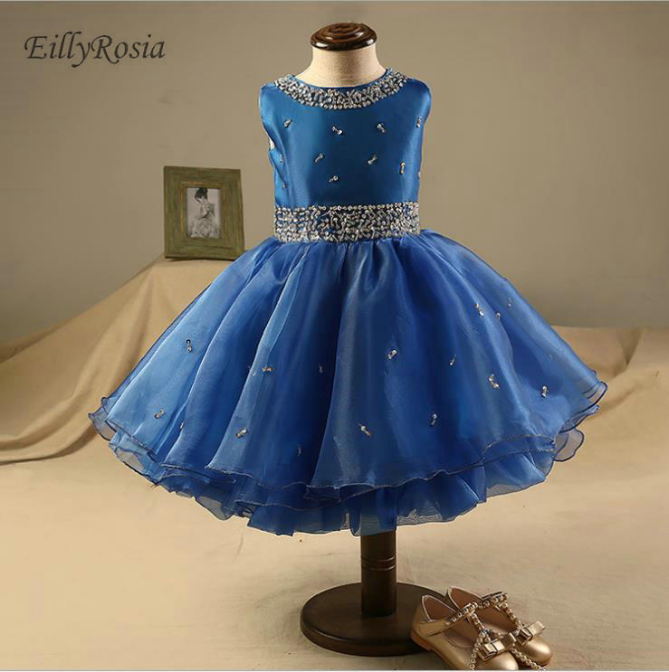 Royal Blue Kids Evening Gowns Tea Length Beading Sequins Organza Tulle  Elegant Formal Prom Party Dress for Little Girls Pageant 381dae88246f
