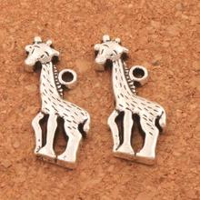 Giraffe Looking Down Charm Beads 15x21.5mm 30PCS Antique Silver Pendants Alloy Handmade Jewelry DIY L038
