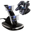 New USB LED Blue Light Dual Charger Controller Station Stand Charging Dock For Sony PS3 Wireless Controller