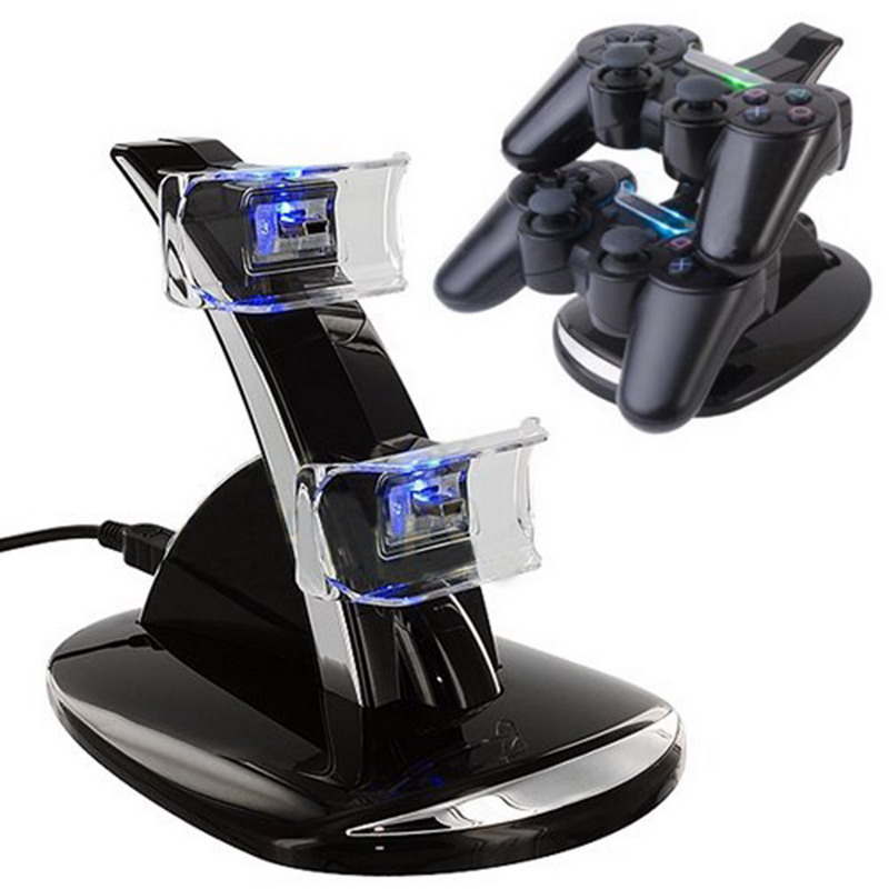 New USB LED Blue Light Dual Charger Controller Station Stand Gamepad Charger Charging Dock For Sony