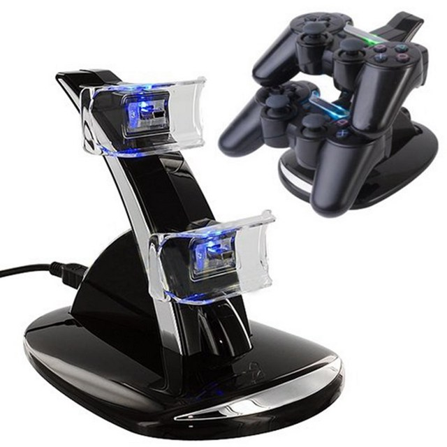 New USB LED Blue Light Dual Charger Controller Station