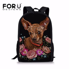 FORUDESIGNS Chihuahua Printing School Bags for Teenager Girls Kawaii Backpack Children Shoulder Bagpack Kids Satchel