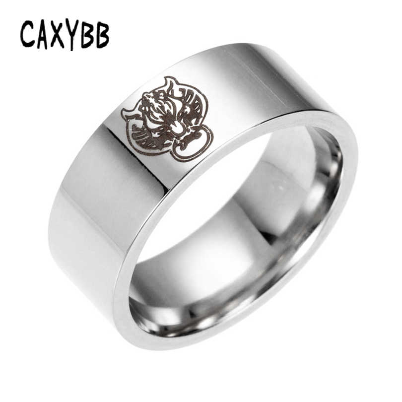 Gaxybb Game Final Fantasy Wolf Head Vintage Men's Ring Stainless Steel Ring men and women Jewelry party metal wolf ring