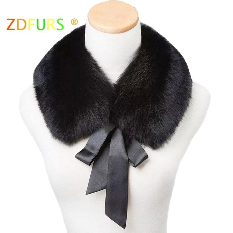 cdfc55b2 ZDFURS * real fox fur collar muffler fur scarf for winter fox fur collar  for wool coat Coat decoration lovely collar for girl
