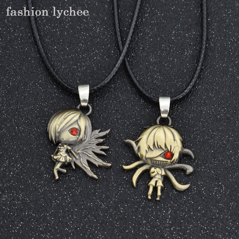fashion lychee 2pcs Anime Tokyo Ghoul Ken Kaneki Mask Pendant Necklace Long Rope Chain Couple Necklace Jewelry