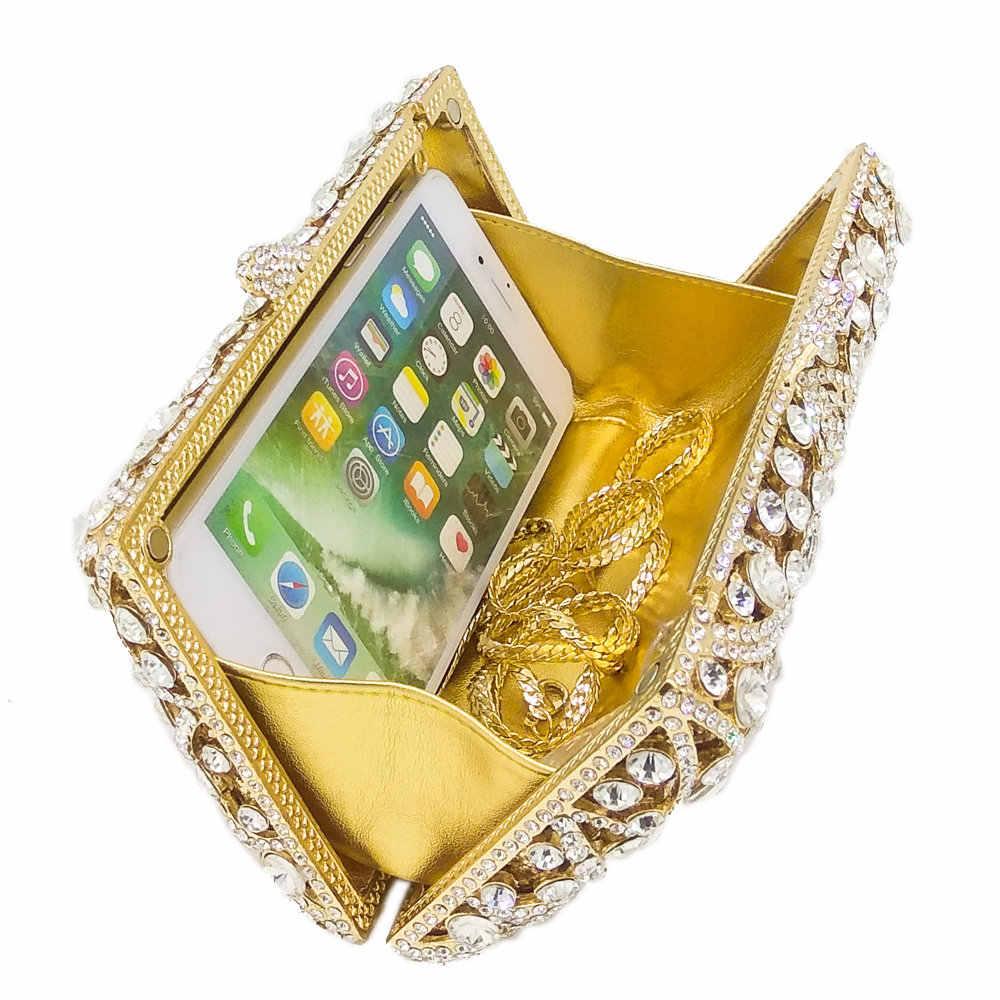 Бутик De FGG выдалбливают угол узор женские золотые хрустальные клатчи вечерние дамские сумочки и кошельки алмаз свадебный вечерний клатч в стиле minaudiere