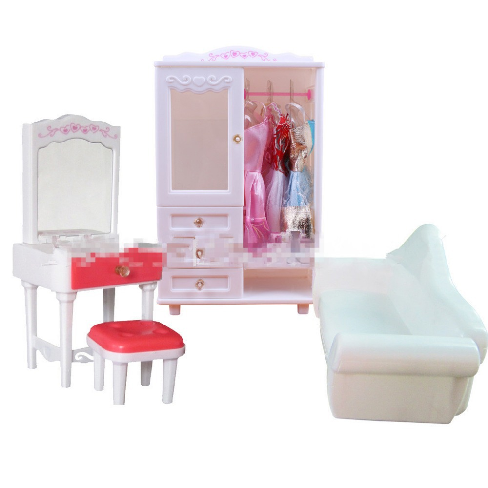ФОТО Most Fashionable White Dreamy Dolls Furniture Set Chair+Dressing Table+Sofa+Chest 4Pcs Sets Girls Birthday Gifts Free Shipping