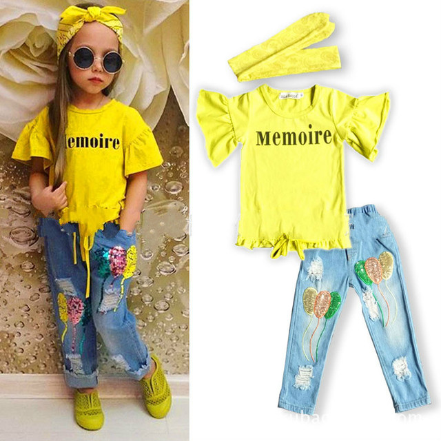 f80bb92b Cotton Baby Girls Clothing Sets 2018 Summer O-neck Kids Tops Ripped Jeans  Scarf 3