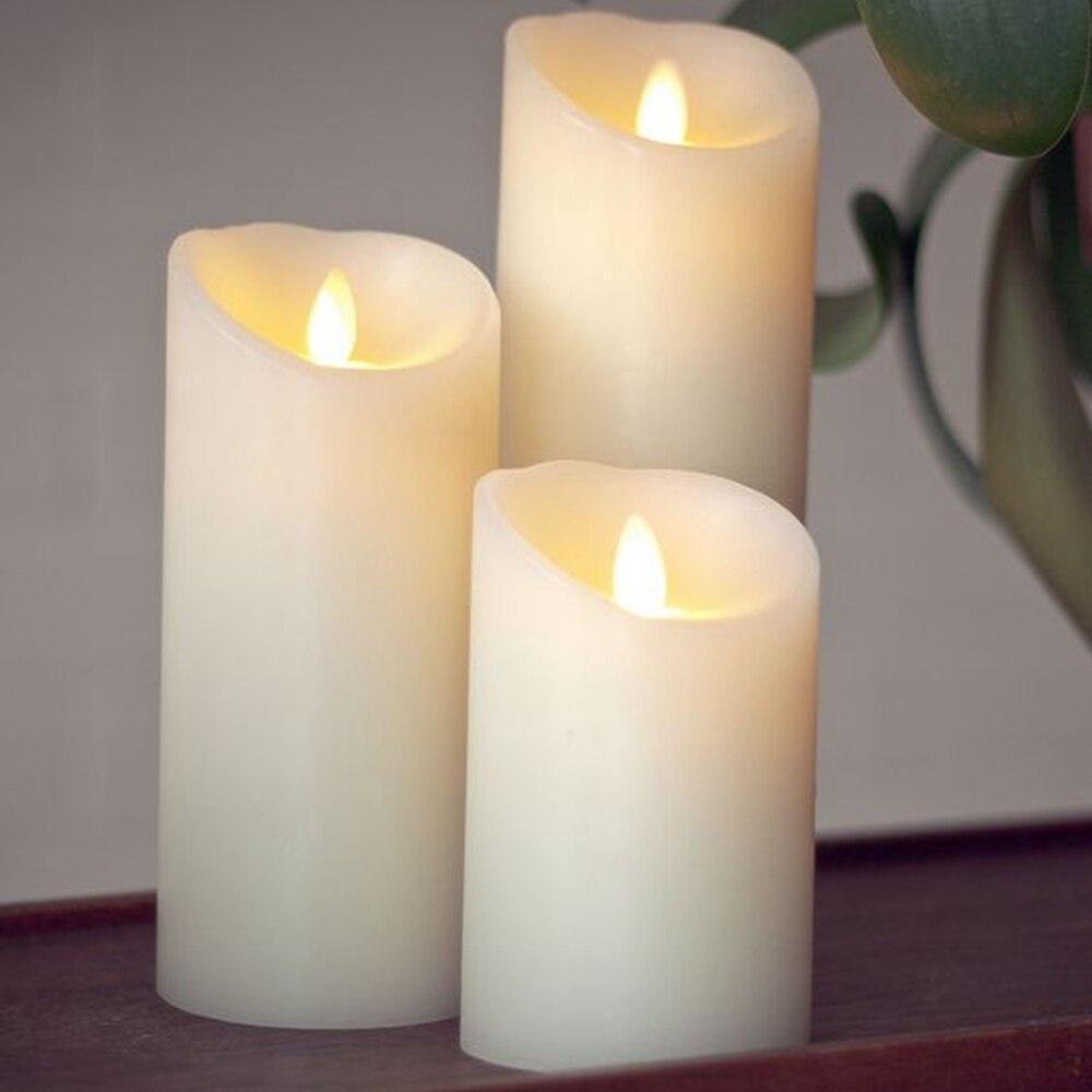LED Flammenlose Kerze mit Fernbedienung & Timer Set von 3 stücke, 3,5-Zoll von 5/7/9-Zoll Säule Kerze mit Moving Docht, Elfenbein