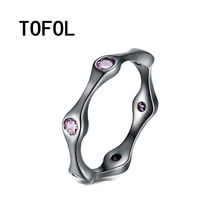 TOFOL Rings 2017 New Fashionable Simple Friger Ring Men Women Copper Zircon 3 Colors Rings Size 6 7 8 9