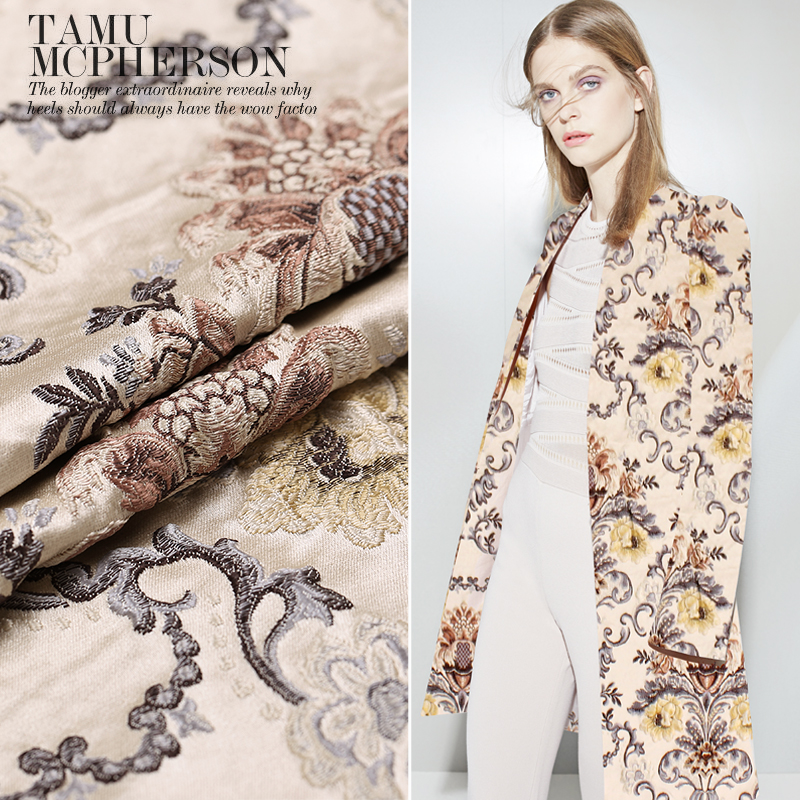 Hot sale 2016 autumn french import jacquard tapestry satin fashion fabric for coat crisp wholesale tissu au meter bright cloth in Fabric from Home Garden