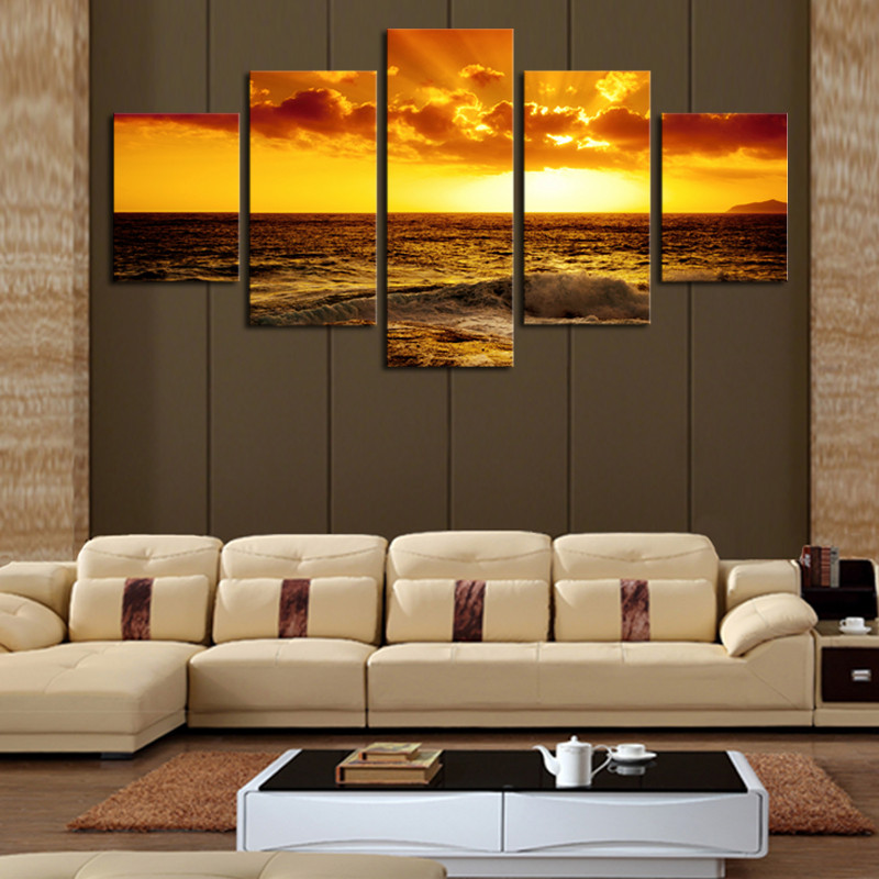 5 Panel Beautiful Seascape Beach Hd Picture Modern Home Wall Decor Canvas Print Painting For House
