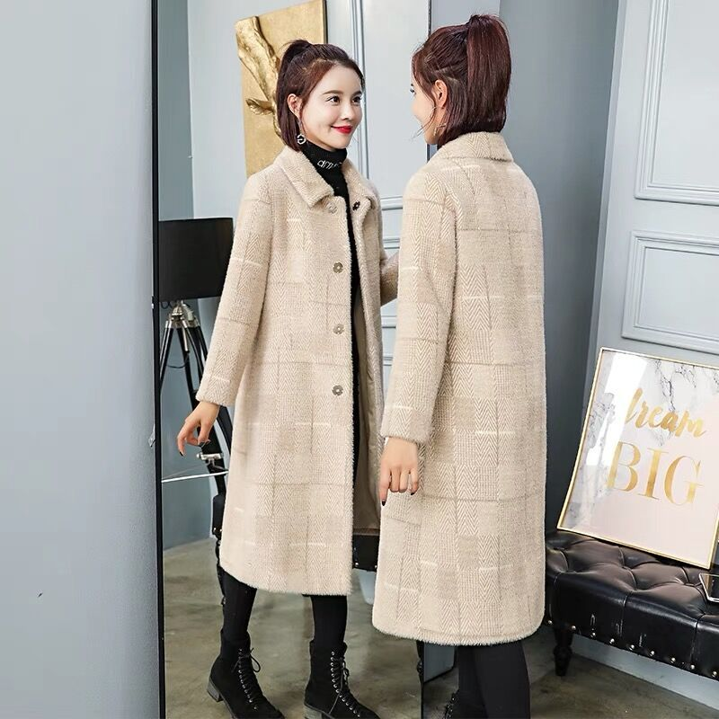 2019  Gold Velvet Coat Female Mink Fur Female Long Section New Thickening Solid Turn-down Collar Full Sleeve Warm Autumn Winter