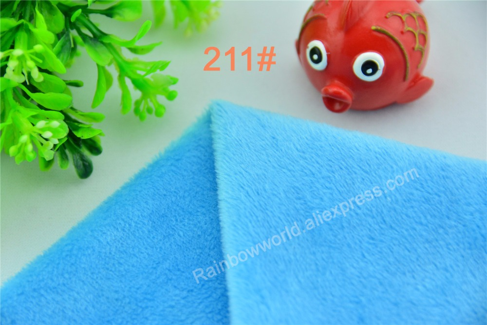 211# blue Super soft velvet fabric microfiber brushed velboa hair height 2-3mm for DIY toy blanket pillow(1 meter)