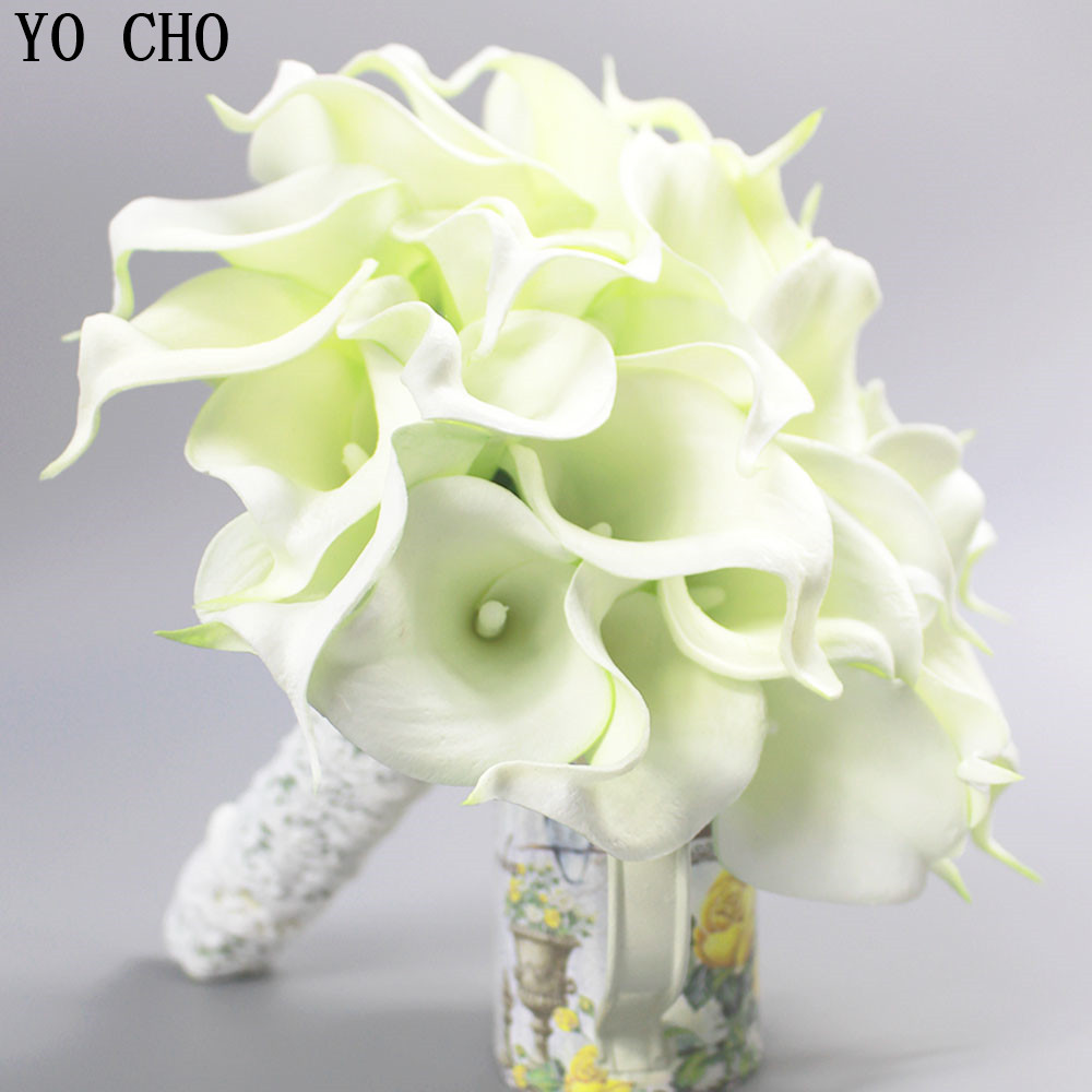 Wedding flowers bridal bouquets pu bride holding flower ivory white wedding flowers bridal bouquets pu bride holding flower ivory white artificial calla lily flower wedding bouquet 30pcsbouquet in artificial dried izmirmasajfo