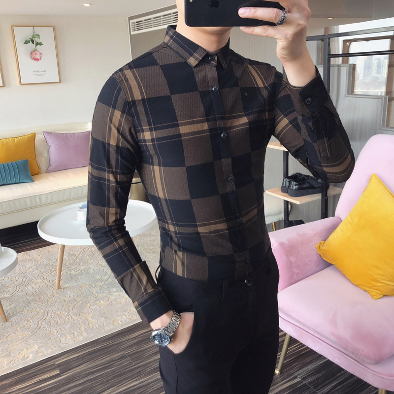 Spring/summer 2018 new fashion mens casual long-sleeved and hairdressers check shirts Favourite Free shipping