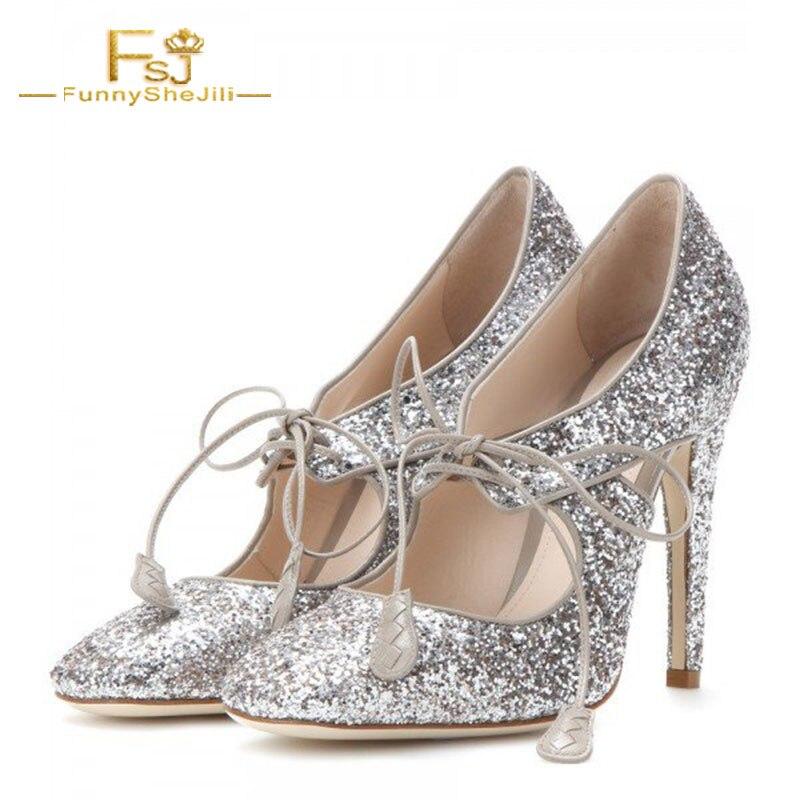 Up Automne Glitter Pompes Dentelle 2018 Fsj01 Printemps Taille Shoes41 Dames Talon Fsj Argent 42 43 Femmes Chaussures Grande Scintillant Stieltto Z8xtwzqZvY