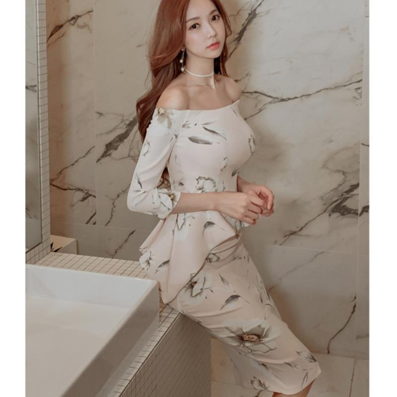 2019 Spring Summer Midi Dress Women Slash Neck Ruffles Bodycon Pencil Dress Women Print Floral Office Dress Vestidos Lapiz