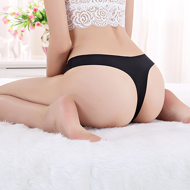 One size Silk Sexy Women Thongs G-string Seamless   Panties   Female Underwear   Panties   Low-Rise Lingerie White Black Red briefs
