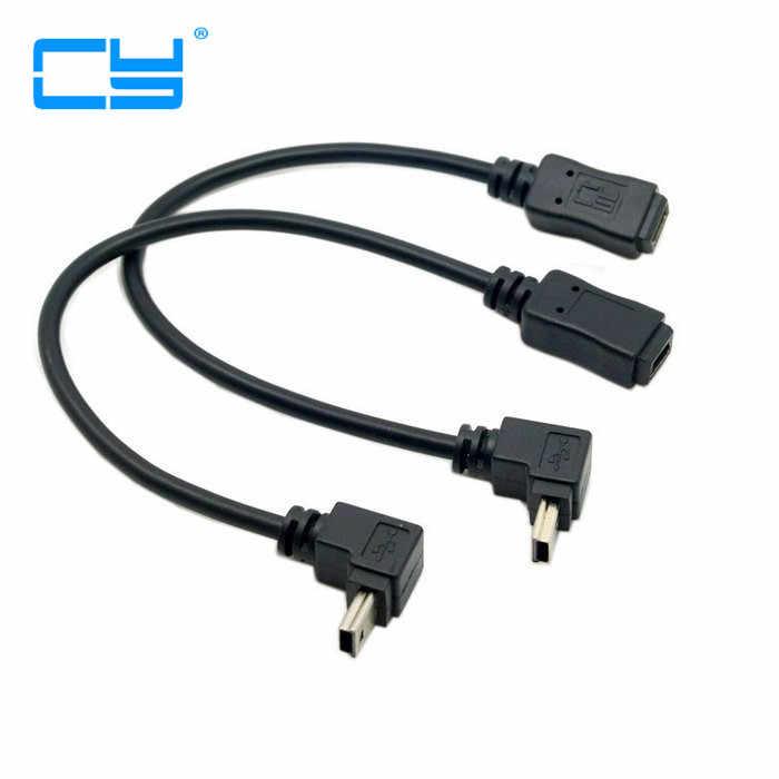 90 grados arriba y abajo dirección en ángulo Mini USB 5 Pin Cable de extensión de macho a hembra 0,2 m 20cm Mini USB 5PIN adaptador Cable corto