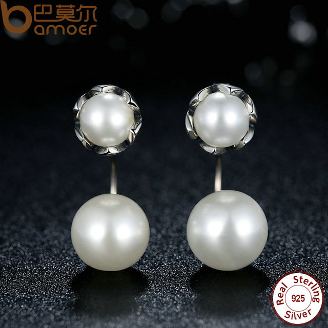 Sterling Silver Simulated Pearls Special Style Earrings