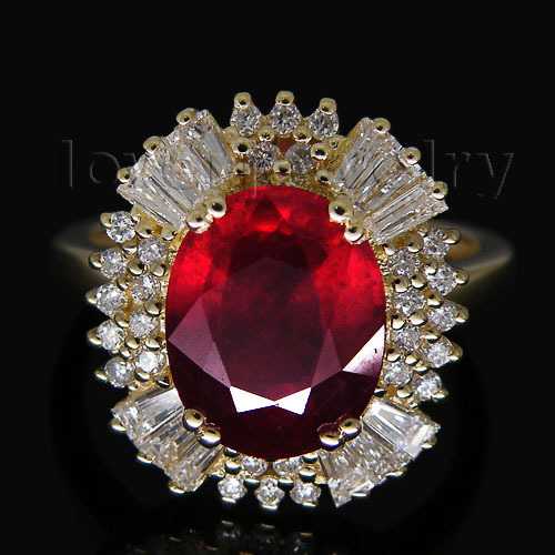 Big Solid 14Kt Yellow Gold 3 83ct Diamond Natural Red Ruby