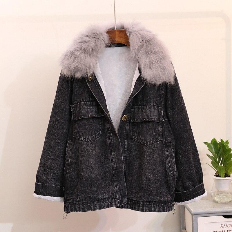 De Fox Manteau bleu Automne Nouvelle Velours Femelle D'hiver Denim Mode Épaissie Col Et Veste Femmes Noir Fourrure Plus 2018 Outwear Réel Le xX81qCnX