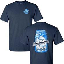 2019 Nieuwe Zomer Slim Tee Shirt Mason Jar Southern Gemoedstoestand Korte Mouwen Navy T-shirt Fashion T-shirt пылесос marta mt 1349