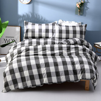 Black/White Plaid Check 100% Cotton Bedding Set Soft Cozy Geometric Duvet Cover Set Pillow 4pcs Twill Decorations Home Textile