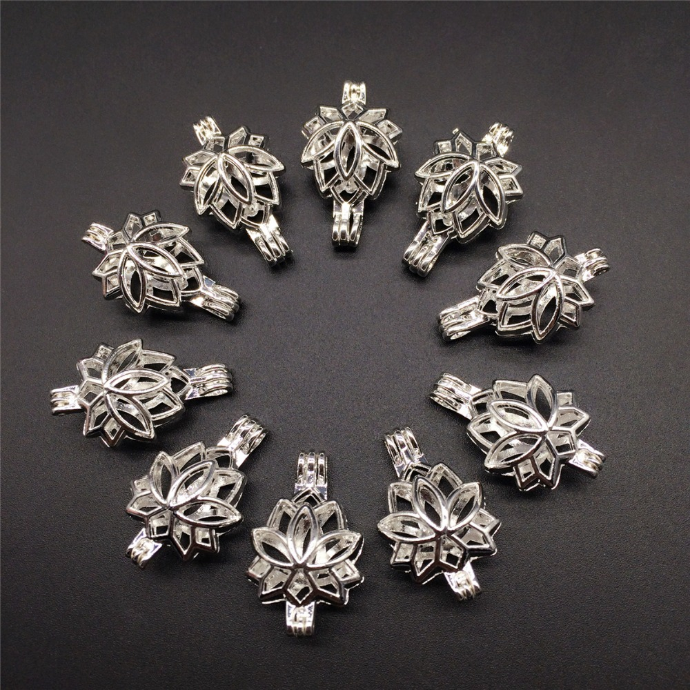 10pcs bright silver creative lotus flower jewelry making supplies 10pcs bright silver creative lotus flower jewelry making supplies alloy beads cage pendant essential oil diffuser trendy locket in pendants from jewelry izmirmasajfo Images