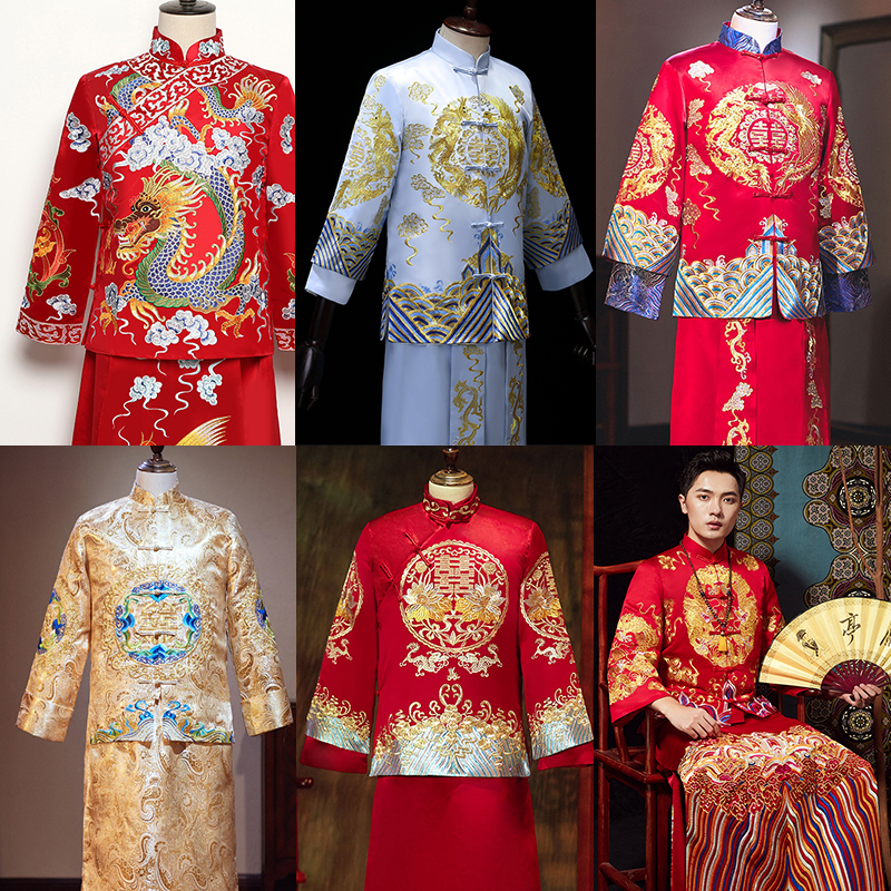 Hot Sales Chinese Traditional Wedding Long Gown Robe New Groom Dragon Costume Vintage Clothing Elegant Oriental Tang Suits Wear