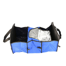 Foldable Multi Compartment Fabric Car Truck Van SUV Storage Basket Trunk Organizer With Cooler Set Storage Bag For Auto collapsible car compartment trunk bag felt organizer suv multipurpose storage gray
