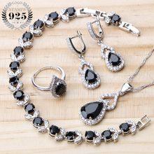 ea5b10cd6 Wedding 925 Sterling Silver Jewelry Sets Women Bridal Black Zircon Stones  Earrings Bracelets Necklace Rings Set Jewelry Gift Box