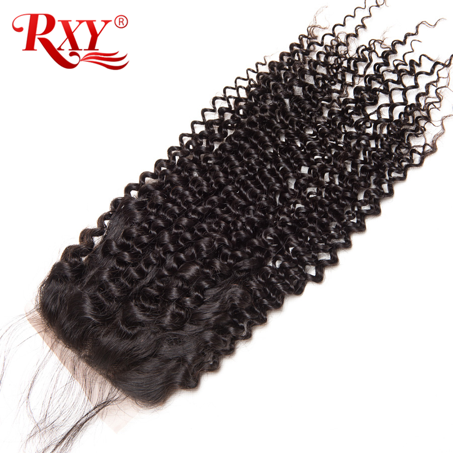 Rxy Hair Brazilian Kinky Curly Closure 100% Remy Hair 4*4 Free Part 8-22 Human Hair Lace ...