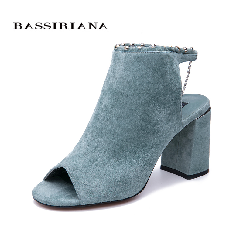 BASSIRIANA 2019 new genuine suede High Heels Shoes woman Office Dress Gladiator Sandals women slip on
