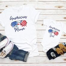 American Mama Daughter Tshirt Girl 4th of July Tee Celebrati