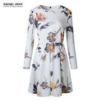 Vichy new bohemian sexy autumn spring casual 2128 dresses women boho UK Designer print white long sleeve vintage clothes RV0278