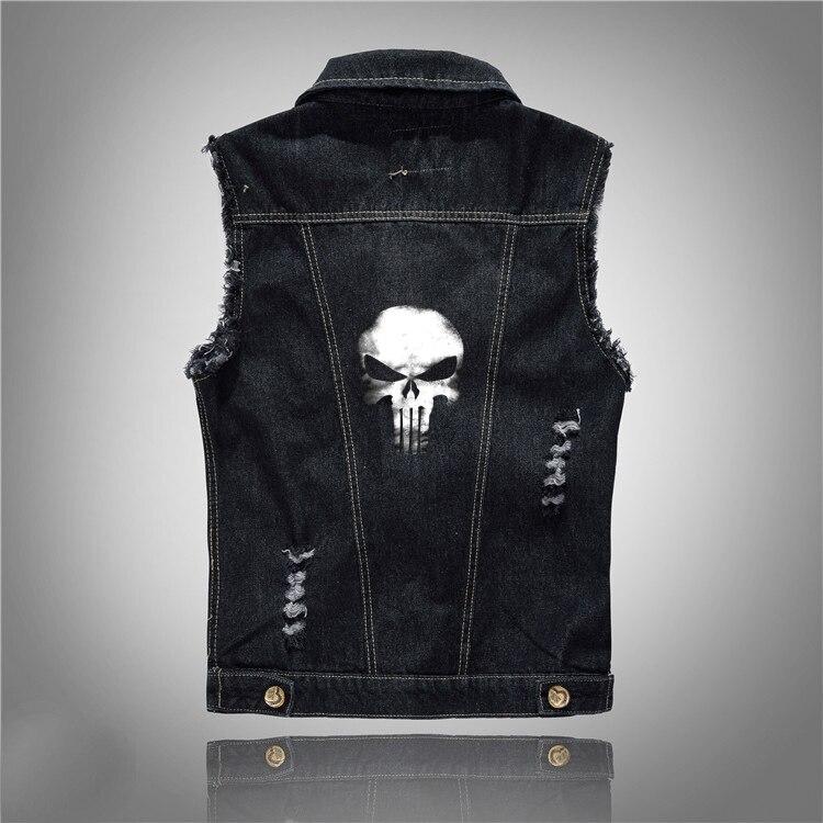 היפ הופ גולגולת ג 'ינס אפוד גברים שרוולים ז' אן מעיל וסטים פאנק רוק חזייה שחור מעיל
