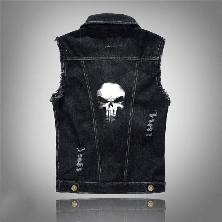 Hip Hop Skull  Denim Vest Men Sleeveless Jean Jacket Vests Punk Rock Waistcoat Black Coat