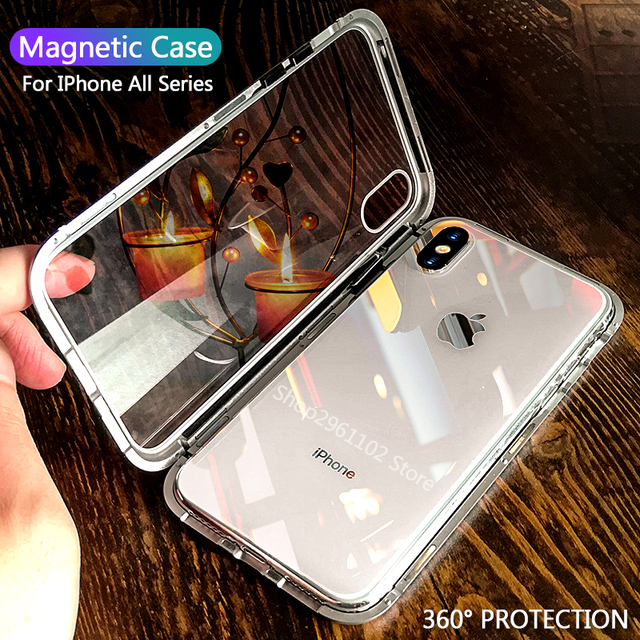timeless design 3dc5a 82764 US $3.9 31% OFF Magnetic Adsorption Phone Cases for iphone xs max x s r xr  Magnet Metal Tempered Glass Case for Iphone 6 S 7 8 Plus Coque Capa-in ...