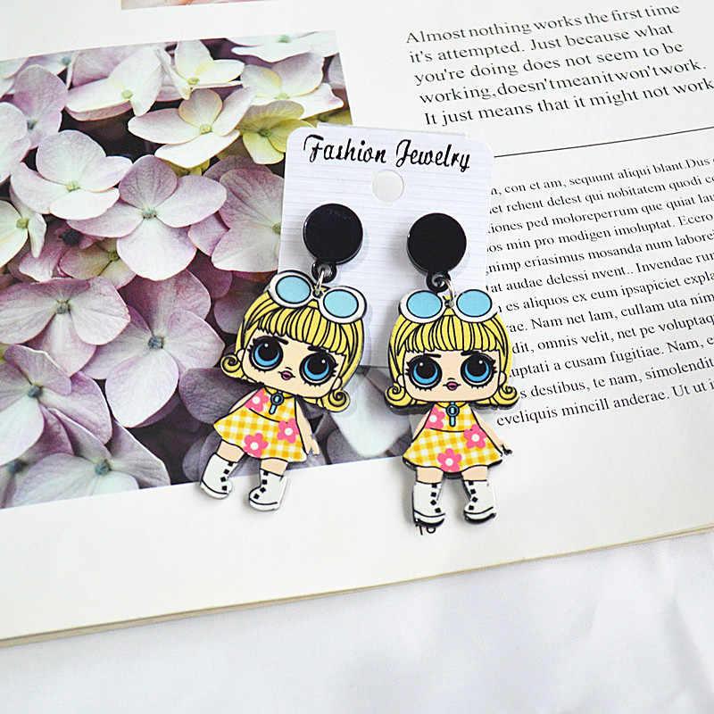 2019 Nuovo modo Coreano semplice bellezza del fumetto di tendenza divertente acrilico ritratto personalità orecchini femminile dei monili accessori per le orecchie