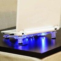 NA JU 3 Người Hâm Mộ Mát Máy Tính Xách Tay Cơ Sở Với Màu Xanh LED Ánh Sáng Notebook Cooling Pad Đứng làm mát bằng gió Quạt USB Máy Tính Hỗ Trợ Cho Máy Tính Xách Tay PC