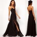 S-xxl delgado atractivo negro tirantes de la gasa de las mujeres backless del partido de tarde del vestido de cena de verano playa bohemia dividida doble dress qz432
